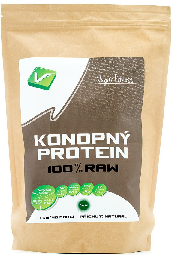 Konopný Protein 100% RAW 1000g sáček - Vegan Fitness