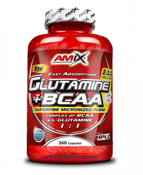 L-Glutamine + BCAA 360 kapslí - Amix
